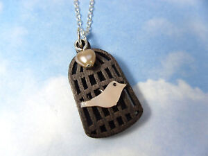 Bird & Cage Necklace - mother of pearl bird, wood cage, sterling silver chain