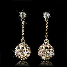 18k rose gold gf made with SWAROVSKI crystal ball stud dangle earrings