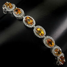 Sterling Silver 925 Genuine Natural Citrine & Lab Diamond Bracelet 6.5-7.5 Inch