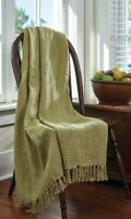 "Bassett Hall Timson Green Throw Blanket SAGE by Park Designs 60"" x 50"" Cotton"