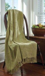 "NEW SAGE Green Throw Blanket Bassett Hall by Park Designs 60"" x 50"" Cotton NEW"