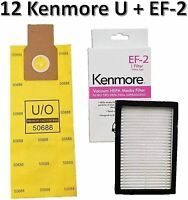 12 Kenmore U/O Allergen Bags 50688 + 1 Sears Kenmore EF-2 Filter 86880 MC-V194H