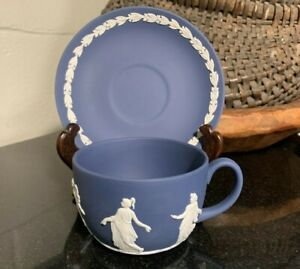 "Wedgwood Jasperware Dancing Hours Dark Blue 2 1/4"" Flat Cup & Saucer - Excellent"