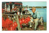 Lobsterman Painting Buoys Main Coast Unused Vintage Postcard EB35
