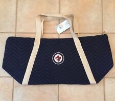 NHL Quilted Tote Travel bag blue Winnipeg Jets NWT New Hockey Purse