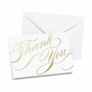 Gold Thank You Pack of 50 Wedding Thank you Cards Thankyou Notes