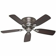 "Hunter Low Profile 42 42"" Flush Mount Indoor Ceiling Fan - 5 - Grey"