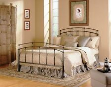 Queen Size Fenton Bed with Frame Black Walnut Finish 4 Poster Bedroom Metal Iron