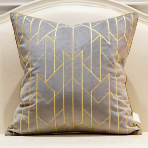 Avigers 20 x 20 Inches Gray Gold Striped Plaid Embroidered Cushion Cases Luxury