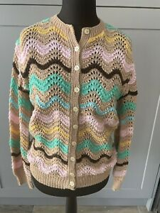 Handknitted Wave Knit Multicoloured Cardigan Size Large