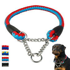 Martingale Adjustable Nylon Dog Training Choke Collar with Chain Reduce Pulling