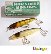 (2) Shur-Strike Minnow CCBCO Vintage Wood Fishing Lures + Box