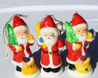 Santa Clause Christmas Xmas Lot of 3 Ornament Bone China Orig Sticker Taiwan D23