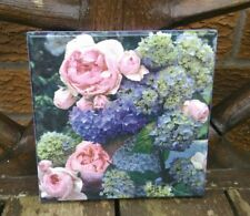 Shabby chic floral picture plaque, handmade, wooden, flowers roses wall ornament