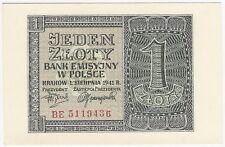 Generalgouvernement 1 złoty 1941 seria BE ...436; Fi 178, Mi 99b - UNC