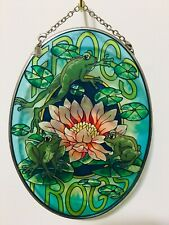 "AMIA Studio Art Stained Glass Suncatcher FROGS Large Oval 7.5""L x5""W SHIPS FREE!"