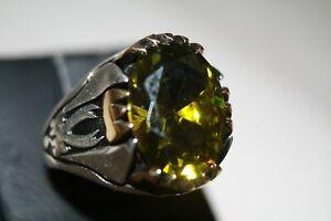 Turkish Handmade Men's Ring 925 Sterling Silver Garnet stone Size 9