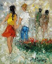 ANDRE DLUHOS ORIGINAL OIL PAINTING Couple Man Woman Girl Summer Park Stroll
