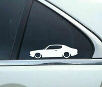 2X Lowered car outline JDM stickers - For Datsun Bluebird-U 610 Coupe Classic