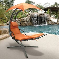 New Hanging Swing Chair Chaise Lounger Hammock With Umbrella Free Shipping