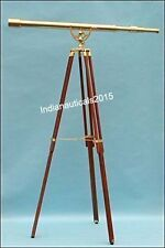 Antique Nautical BrassTelescope With Wooden Tripod Stand Maritime Decor