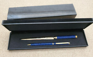 BOEING - 2 Piece Gold Tone & Blue Ball Point Pen & Letter Opener Set In Box