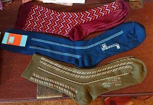 Three pairs of men's vintage/retro nylon socks