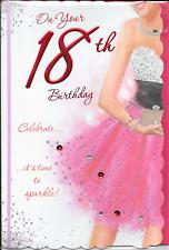 18TH 18 BIRTHDAY CARD**FEMALE**** PINK GLITTER DRESS ***,LARGE 7 X 11 INCHES(J4)