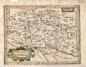 """c1607 small Mercator map """"Lyonnois Foreft et Beaujolois"""" -original with color"""