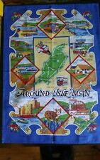 Vtg cotton tea towel Around the Isle of Man island landmarks map