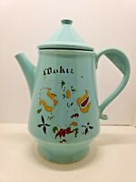 Vintage Teal Blue McCoy USA Dutch Design Pottery Coffee Pot Cookie Jar 12 inch