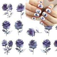 Nail Art Water Decals Stickers Transfers Water Effect Purple Navy Flowers (766)