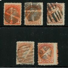 Fancy cancels on 5 Small Queen stamps retail $25 total Canada