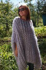 5 strands M-XXXL  Premium Mohair Poncho Hoodie Sweater hand knit Gray J. Rodas