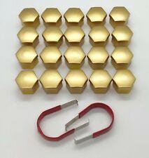AUDI A3 A4 A5 A6 A7 A8 Q3 Q5 GOLD WHEEL NUT BOLT COVERS CAPS 17mm x 20