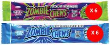 COMBO ZOMBIE CHEWS x 12 28g MEGA SIZE BARS - SOUR GRAPE & SOUR BLUE RASPBERRY