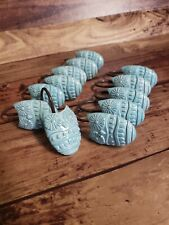 Owl Shower Curtain Hooks Turquoise 12 count Resin Super Cute!