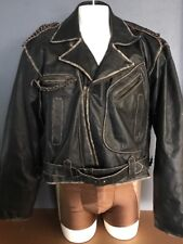 GRACE LEATHER GROUP  Black Leather Jacket -  Size 44 Distressed