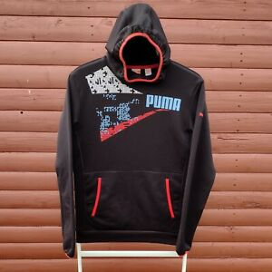 Puma Dry Cell Hoodie Big Logo Graphic Size XS (32/34) Black Multi
