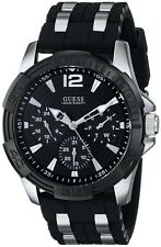NEW GUESS WATCH Men`s Black Silicone W/Silver Multifunction Watch U0366G1