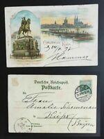"""AK Litho """"Gruss aus Köln"""" Panorama Denkmal Friedrich III 1897 gelaufen"""