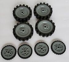 "8 Knex Wheels Lot 4 Medium 2.5"" Tires & 4 Small 1.75"" Tires Silver Hubs/Pulleys"
