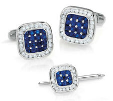 2.13CT ROUND DIAMOND SAPPHIRE 14K SOLID WHITE GOLD TIE PIN AND CUFF LINK FOR MEN