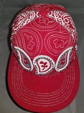 Leader Sports Hat Cap Red with White Paisley Pattern Sparkle Bling Size Medium