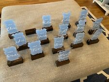 Wedding table numbers acrylic hand painted dusty blue