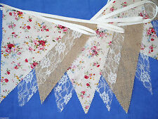 50ft 15m Hessian Burlap Lace Old Rose Bunting Wedding Shabby Rustic Vintage Chic