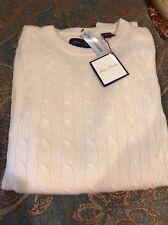 NWT Alan Flusser $278  Crewneck 100% Cashmere Cable Knit Sweater XXL