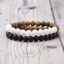 2Pcs Couples Bracelets Opal & Onyx Wooden Beads Bracelets Women Men Bracelets
