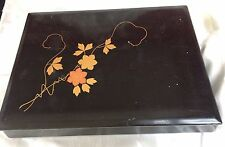 JAPANESE ANTIQUE LAQUER WORK BOX 29.5CM X22CM,TREEN VINTAGE BOXES,EARLY 20thCENT