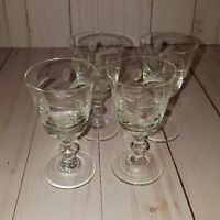 Set of 4 cordial shot glasses etched glass barware  G